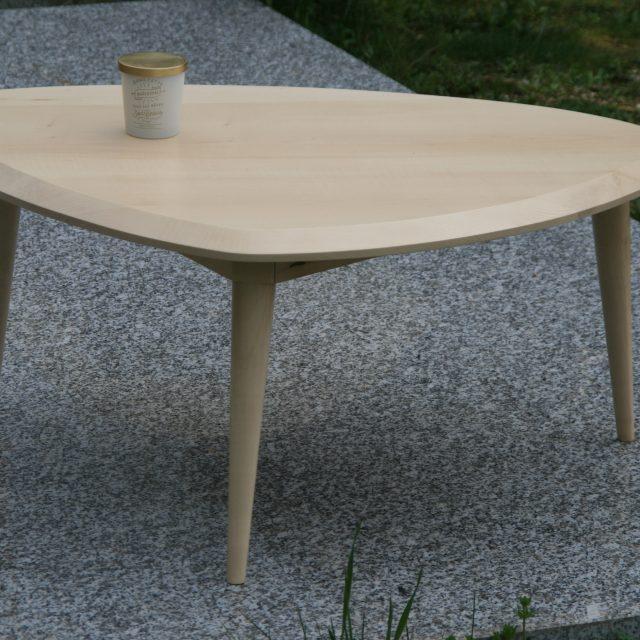 table basse isotor érable sycomore bois massif ébéniste