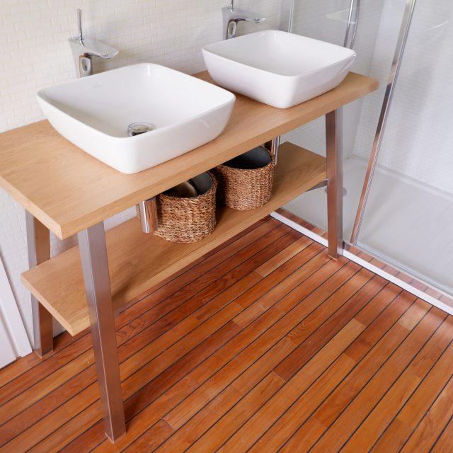 meuble salle de bain pietement inox plateau chêne